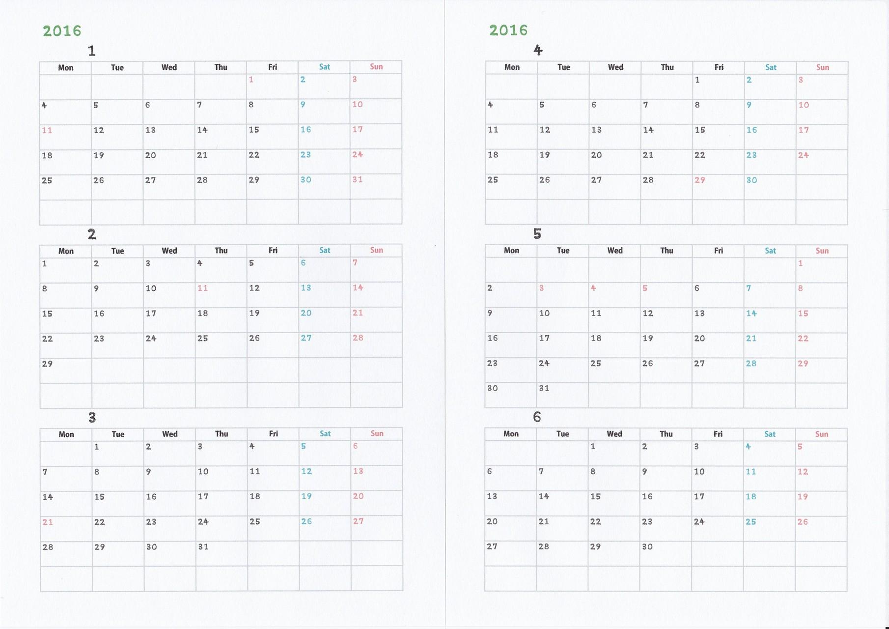【共通】2016年カレンダー
