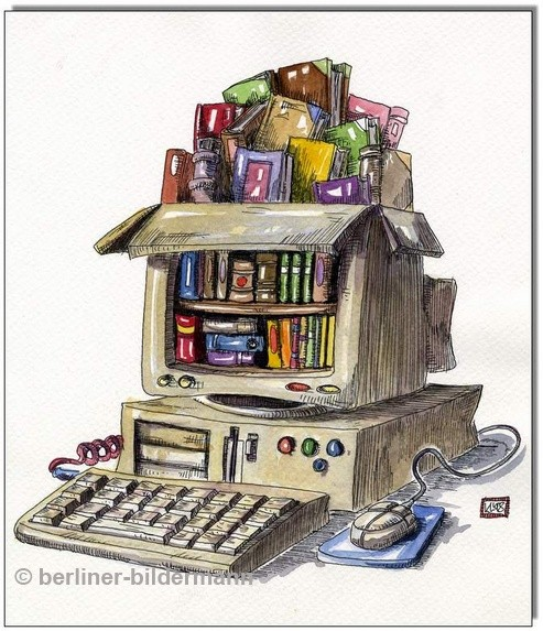 """Digitale Bibliothek"" / Cartoon 1998"