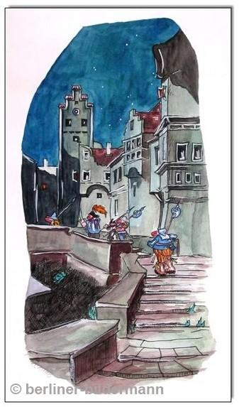 """""""Die Scharwache"""" / Tusche, Aquarell; nach Carl Spitzweg/ 1990"""