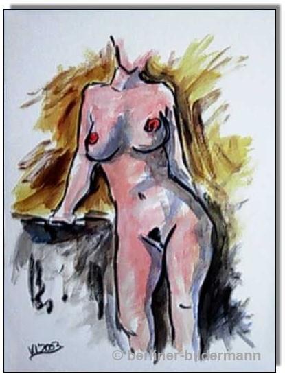 """""""Nude"""" / 2003 / Bildgrösse: 40×50 cm/ Acryl auf Malpapier"""