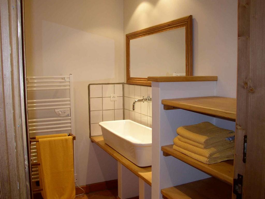 Sale de bain avec douche, sèche serviettes et vasque