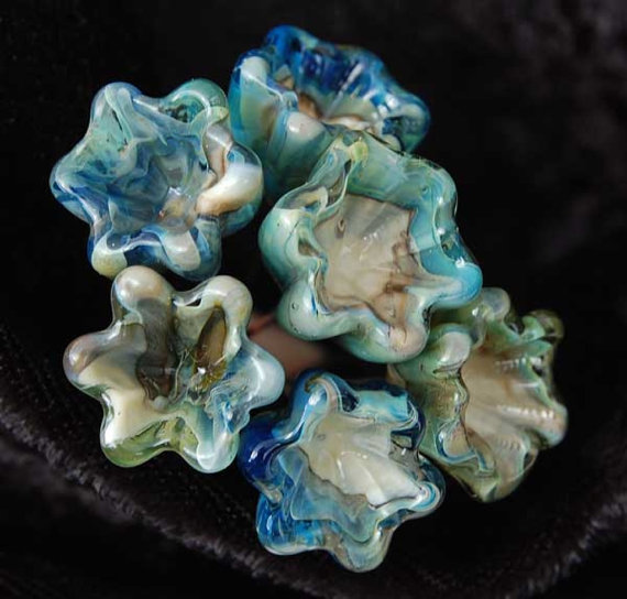 6 Satin Metallic Shell Head Pins  Head Pins Handmade lampwork glass headpins by Beadfairy Lampwork