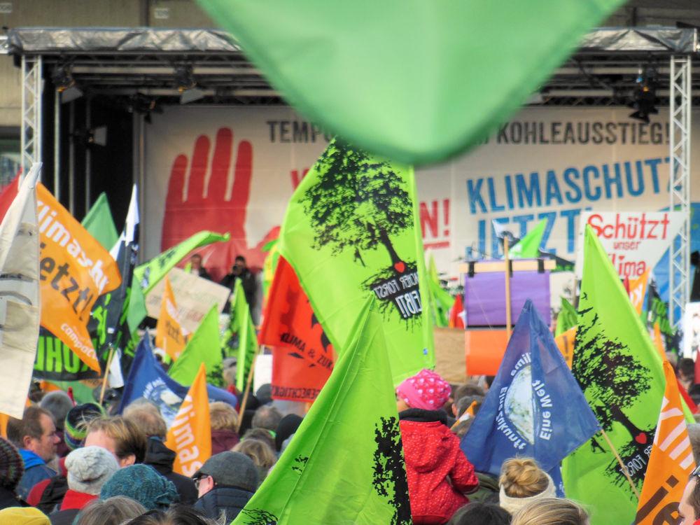 Hambacher Forst auf vielen Plakaten, Foto F. Handel