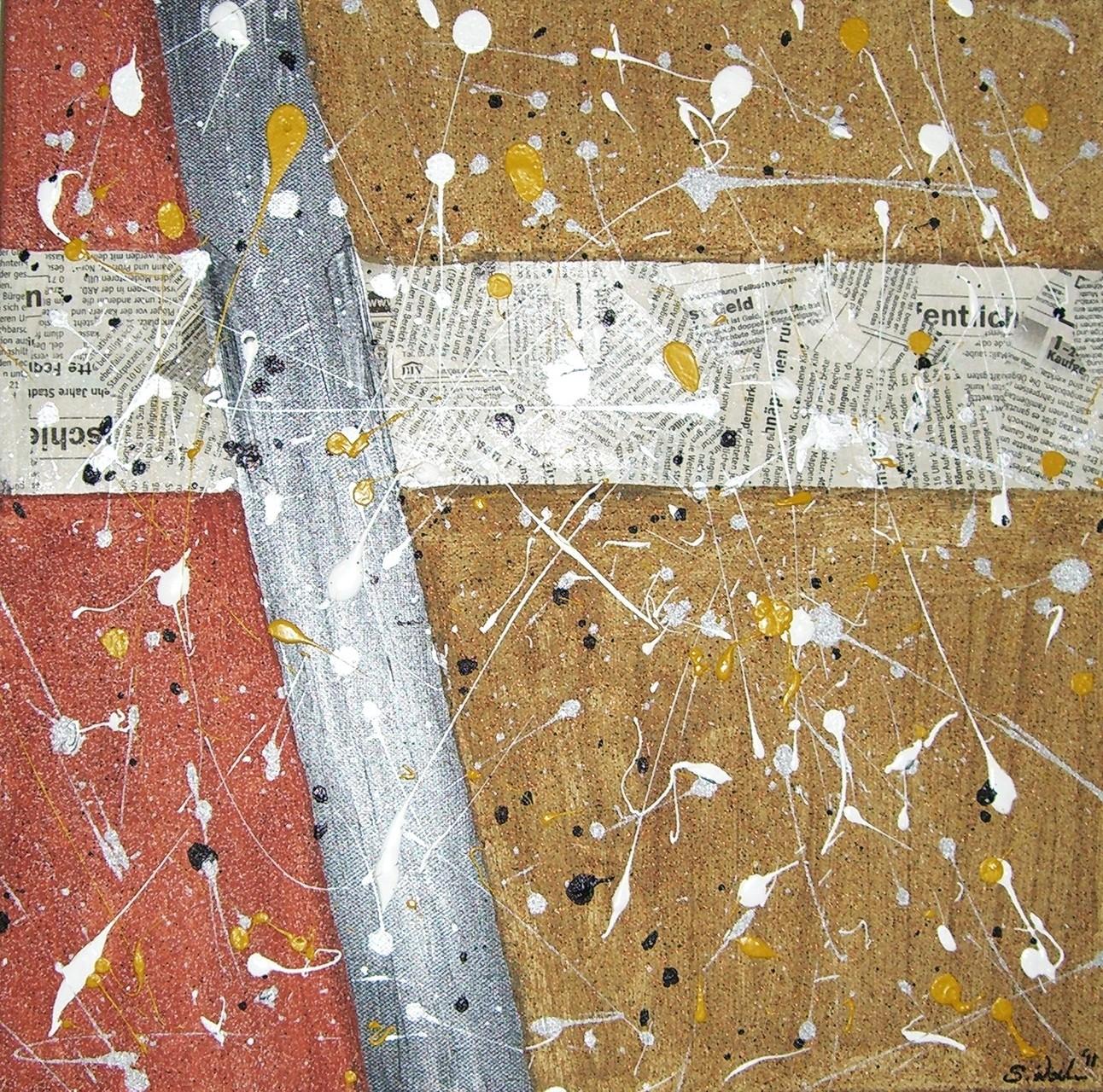 Acryl und Zeitung auf Leinwand - 40x40
