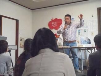 岩沼チャペル礼拝でコヘレトからのメッセージを語る熊田師。