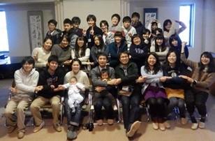 年末合宿参加者の集合写真。20 名程の学生が集った。