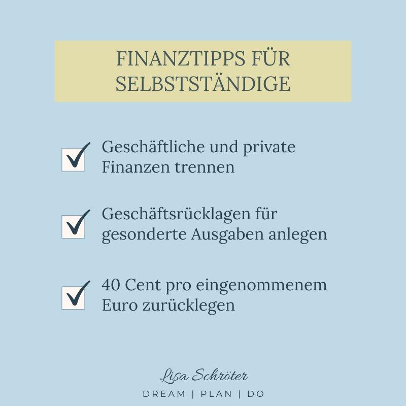 Top 3 Finanztipps für Selbstständige