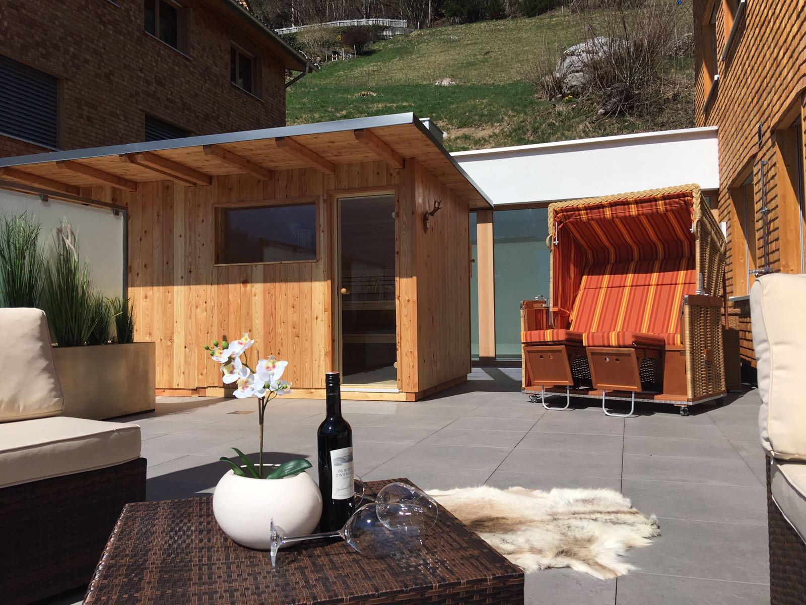 Appartement Zimbablick, Montafon, Vorarlberg - Terasse mit Panoramasauna