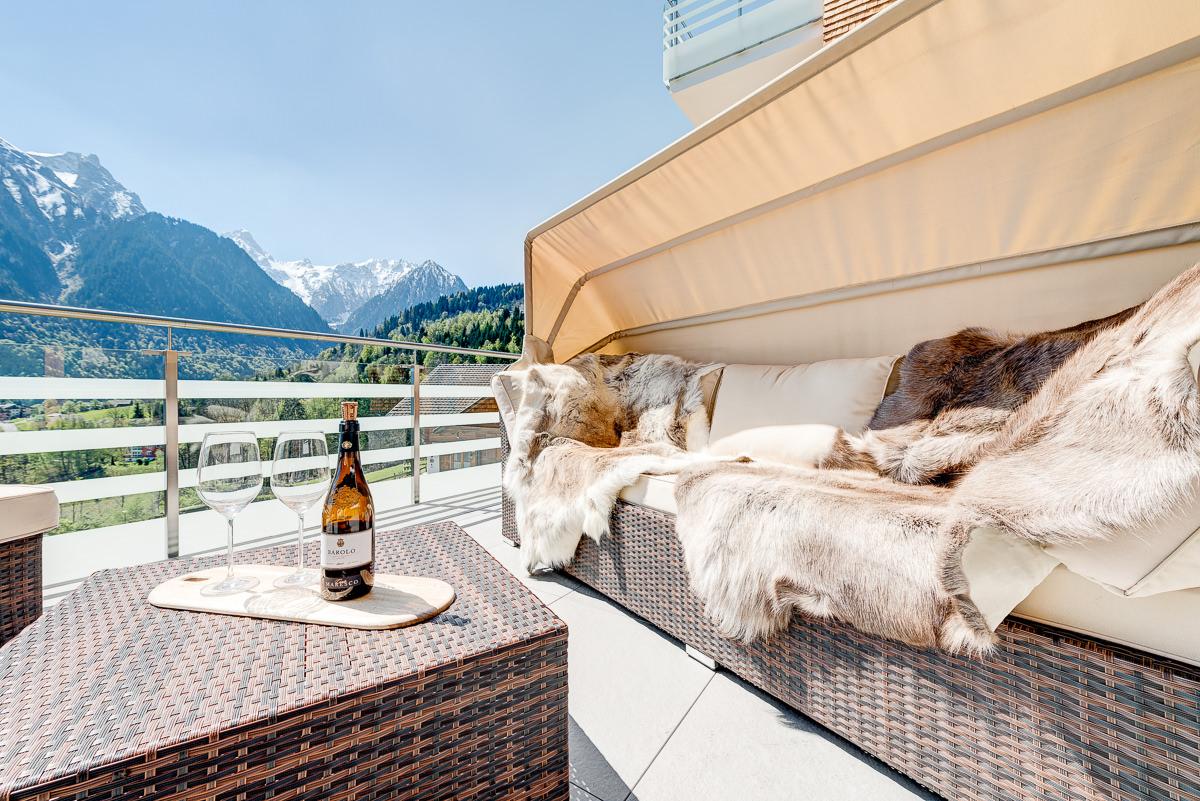 Appartement Zimbablick, Montafon, Vorarlberg - Südwest-Terasse mit Sauna
