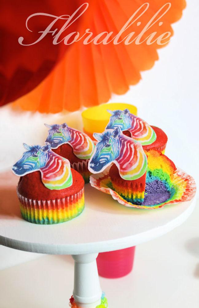 Rainbow Zebra Muffins | Floralilie Sugar Art