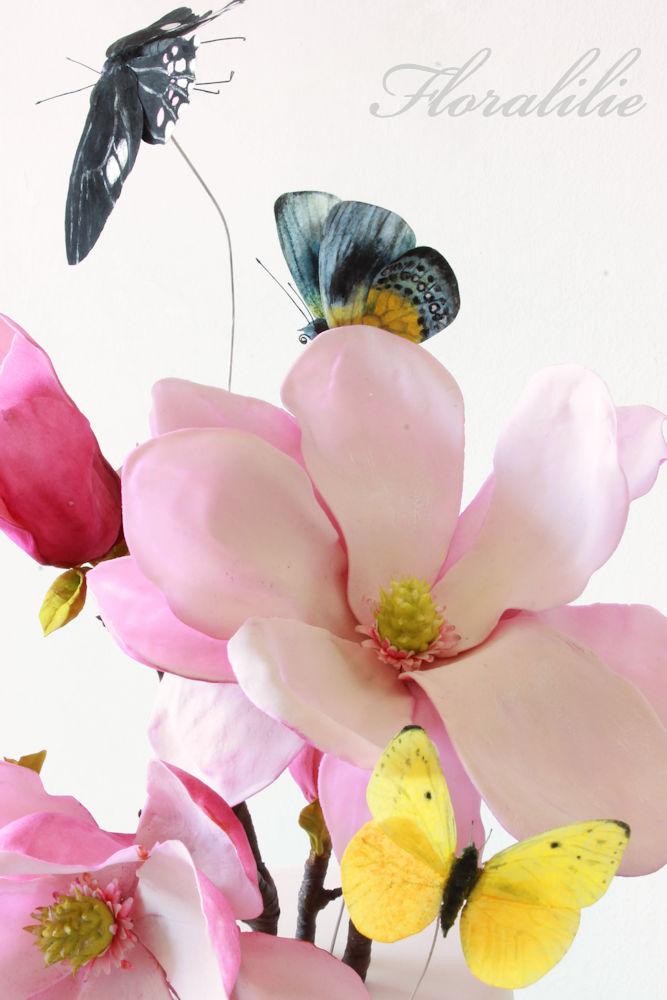 Magnolien Schmetterlings Torte  | Floralilie Sugar Art