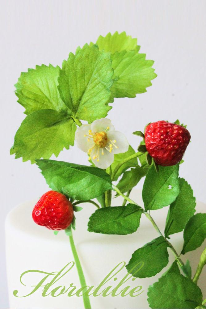 Erdbeeren und Heckenrosen Torte | Floralilie Sugar Art