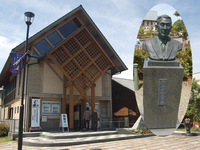 杉原千畝記念館と、人道の丘にある杉原氏の胸像