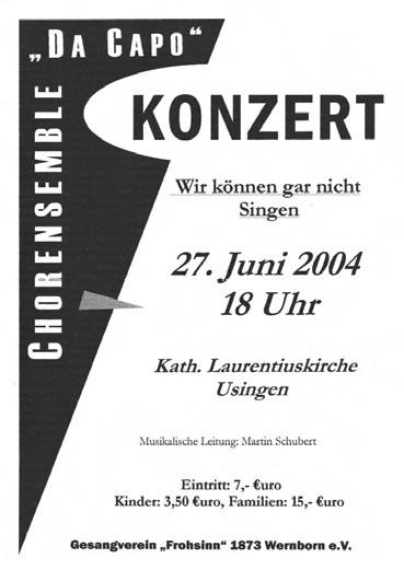 Plakat für das Konzert von Da Capo in Usingen 2004