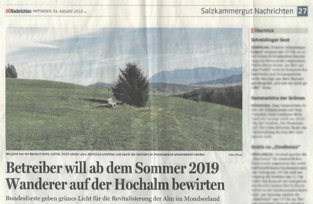 Betreiber will ab dem Sommer 2019 Wanderer auf der Hochalm bewirten
