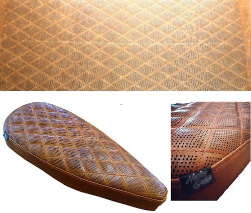 Découpe laser de perforations sur cuir pour confection d'un selle de moto