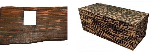 Découpa laser de bois brut de palmier pour marqueterie