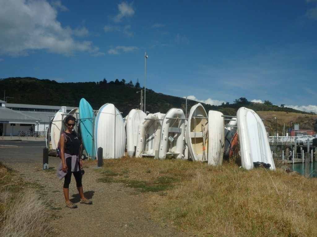 Los dinghys de los barcos a boya en Matiatia Bay
