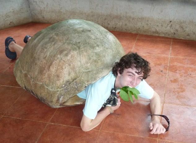 Loic comiendo hierbas como las verdaderas galápagos