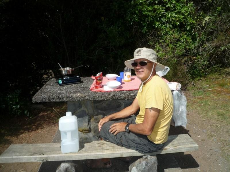 Comida en el camping de Tongariro National Park