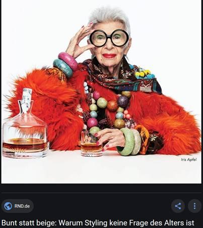 Stilikone Iris Apfel (97 Jahre) hat Mut zur Farbe