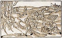 Verschiedene bäuerliche Tätigkeiten (Ende 15. Jahrhundert) auf den Felden, Holzschnitt