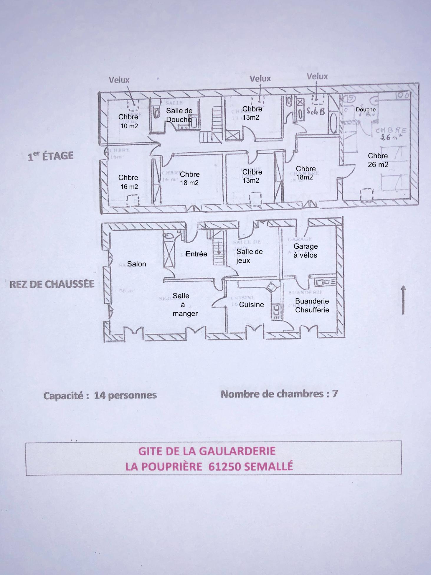 Plan du Gîte - 7 chambres - 14 couchages -