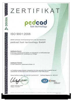pedcad DEKRA Zertifikat - ISO 9001:2008