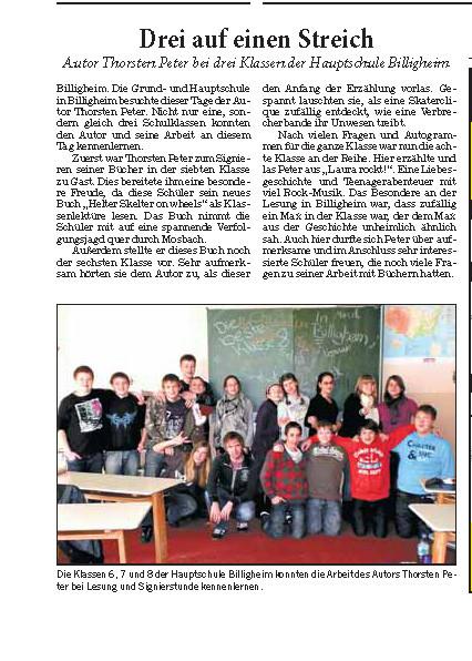 Lesung GHS Billigheim - RNZ 20.12.2010