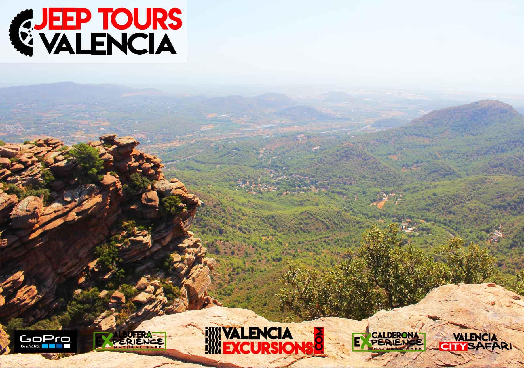 El Garbi Aussichtspunkt auf 700 Metern im Naturpark Calderona Valencia. Abenteuer in Jeeps