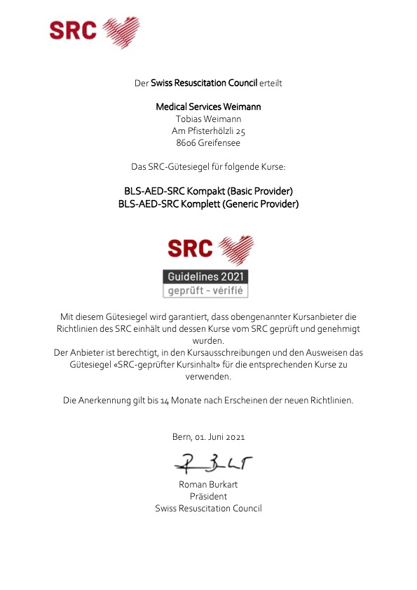 SRC-Zertifizierung 2021 von Medical Services Weimann