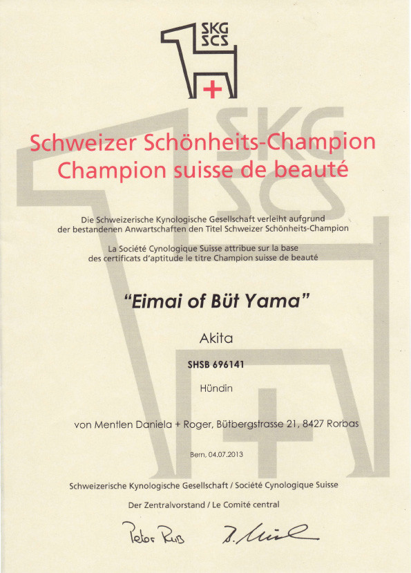 "© Akita Zucht ""of Büt Yama"" | Schweizer Champion"