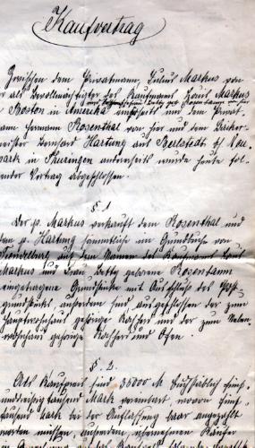 Der Kaufvertrag aus dem Jahr 1904 über den Kauf der Immobilie in der Karlshafener Str. 4, dem damaligen Geschäftshaus der Firma.