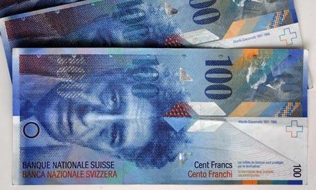 現在の100スイス・フランの表