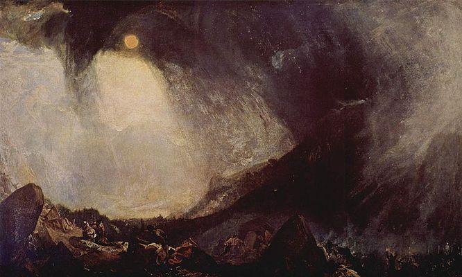 《アルプスを越えるハンニバルとその軍勢》1812年