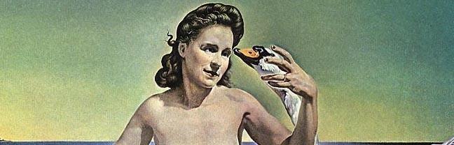 《レダ・アトミカ》。レダはガラの肖像となり、ダリは白鳥に姿を変える。
