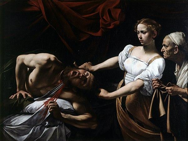 《ホロフェルネスの首を斬るユディト》1598年から1599年。Wikipediaより。
