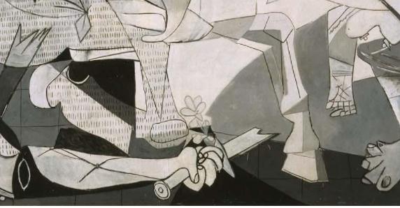 「ゲルニカ」画面中央下にある壊れた剣と花。