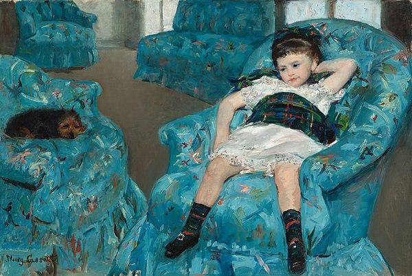 《青いアームチェアに座る少女》1878年