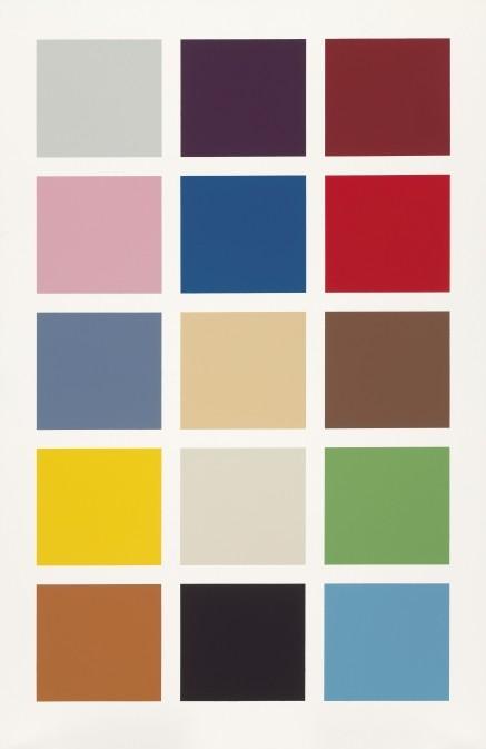 「Fünfzehn Farben」(1966年) /モザイクのように多くの色を並べる「カラーチャート」。