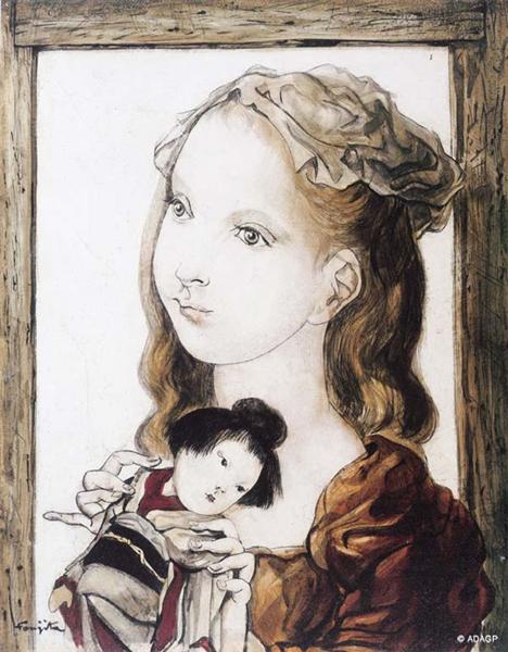 藤田嗣治「日本人形と女の子」(1949年)