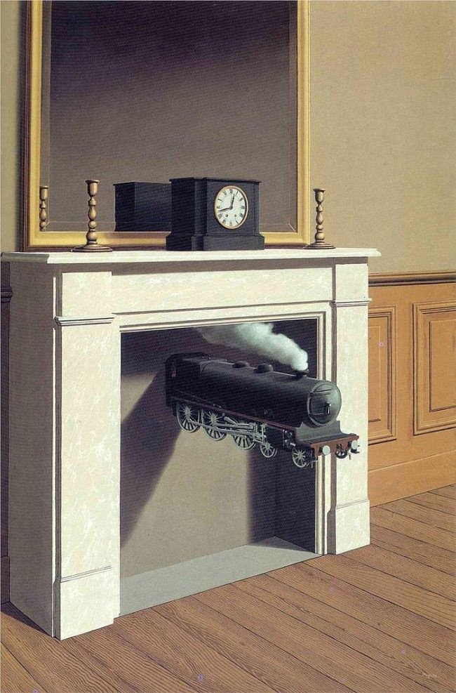 ルネ・マグリット「貫かれた時間」(1938年)