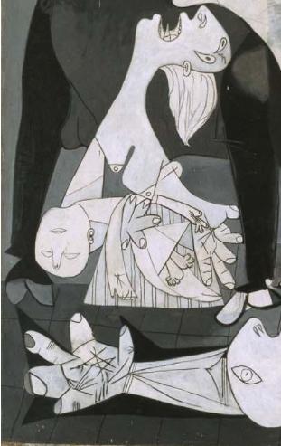 死んだ子供を抱える母親とキリストの聖痕らしき手のひらの傷。