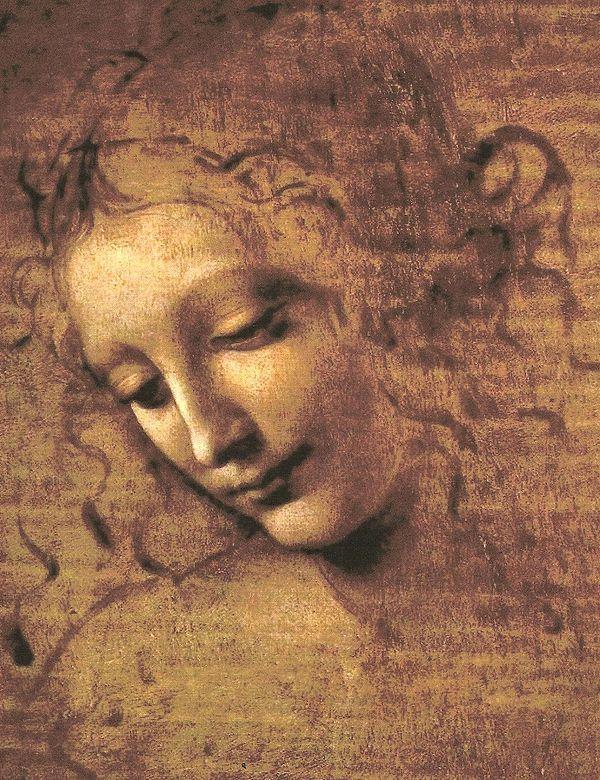 レオナルド・ダ・ヴィンチ《女性の頭部》1508年。Wikipediaより。