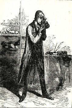 ジュール・ヴェルヌ『地底旅行』原著に掲載されたリーデンブロック博士の挿絵。