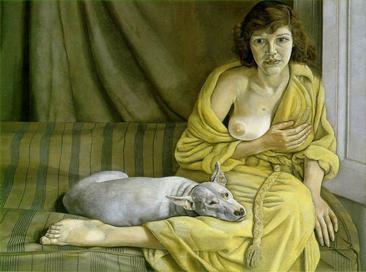 ルシアン・フロイド《白い犬と少女》1951-1952年,Wikipediaより