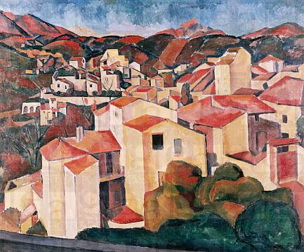 アンドレ・ドラン「カーニュの風景」(1910年)。セザンヌやキュビスムの影響が色濃く見られる。