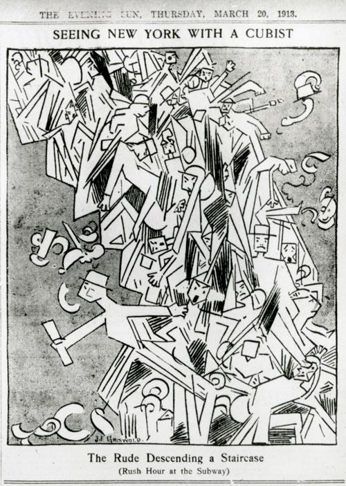 「階段を降りる裸体 No2」のパロディで地下鉄のラッシュを表したもの。「The New York Evening Sun」(1913年3月20日号)