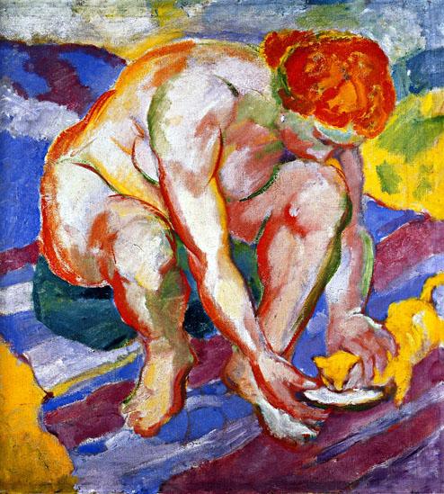 フランツ・マルク「猫と放牧場と裸体」(1910年)