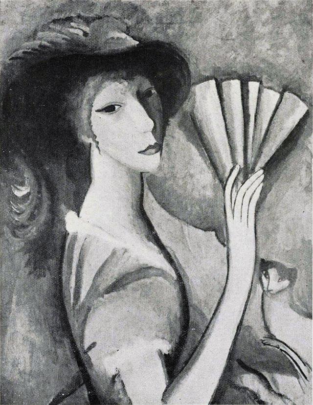 マリー・ローランサン「扇子を持つ女性」(1912年)